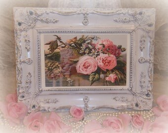 Shabby Cottage Chic Framed Victorian Pink Roses Picture In Gesso Frame Antique Carved Wood Picture Frame Thick Gesso