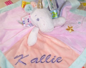 Unicorn Taggie Personalized  Animal Security Blanket Blankie.. Custom Made Any Name & Color EMBROIDERED