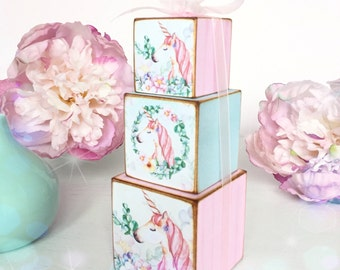 Pastel Shabby Chic Unicorn Stacking Wooden Cubes...