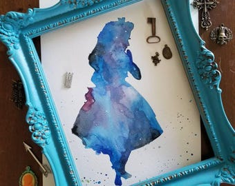 Galaxy Alice watercolor painting, silhouette, whimsical art, fairytale painting, nursery art