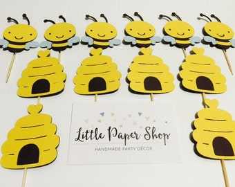 Handmade Cupcake Toppers - Bee and Bee Hives x 12 Baby Shower Birthday