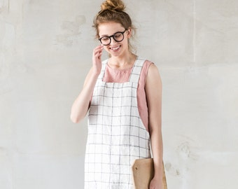 Short square cross linen apron/ japanese style apron. No ties apron in large checks