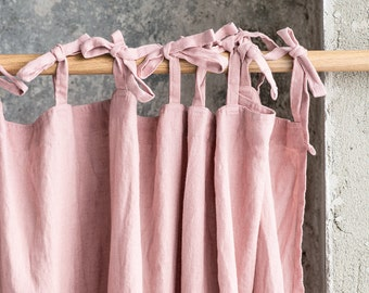 Blossom/peach. Washed linen curtains/ linen drapes in blossom-peach