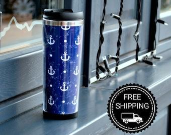 Travel mug Anchor ( travel cup, thermocup, thermomug, Personalized Tumbler, Travel Coffee Mug, travel mug, Tumbler, Funny travel mug)