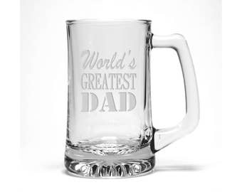 Dad Beer Mug /  Free Personalization  / World's Greatest Dad Etched Beer Glass - #2 / Engraved Beer Mug / Personalized Gift