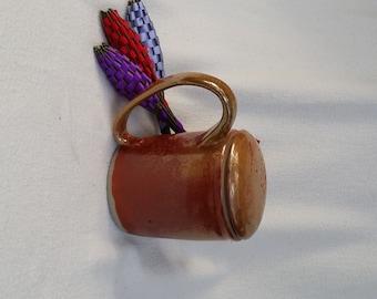 OOAK Handled Lidded Mug Golden Brown Orange