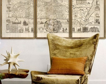 """Holy Land map 1632, Old map of Holy Land in 1 or 3 parts up to 80x36"""" (200x90cm) Biblical map, Israel Palestine - Limited Edition of 100"""