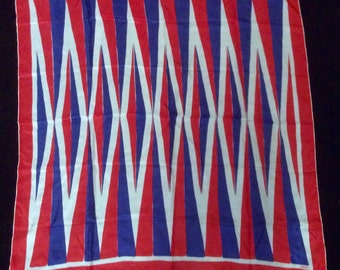 Vintage Vera Silk Scarf, early years, Red, White and Blue
