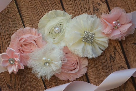 Sash, Blush and ivory Sash , fbs, flower Belt, maternity sash, blush sash, wedding sash, flower girl sash