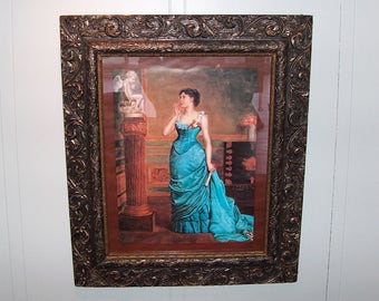 """8041: Antique 1800s Victorian Aesthetic Gesso Frame 22"""" x 26"""" Wood Art Picture Frame w Glass and Print at Vintageway Furniture"""