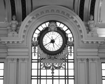 Architectural print, nj wall art, train station clock, hoboken nj, fine art print, home decor, black and white print, classic architecture