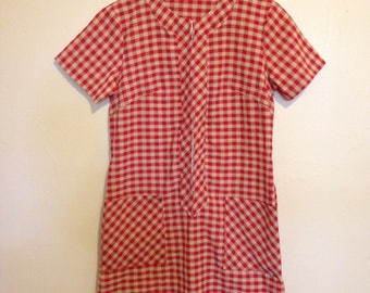 70s Red Plaid Dress -with pockets!  Small/ Medium