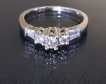 14k white gold natural Round & Baguette Diamond engagement wedding cluster ring