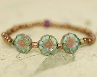 Beaded stretch bracelet, blossom bracelet, spring bracelet, dainty bracelet, small adult size, glass beads + charity donation