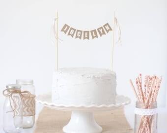 Kraft And White Cake Topper