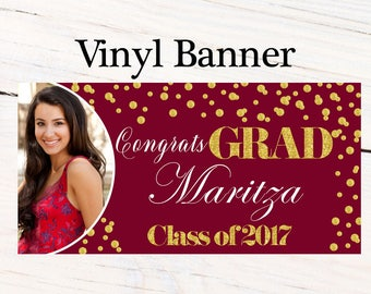 Class of 2017 Graduation Photo Banner ~ Congrats Grad Personalized Party Banners -School Colors Graduation Large Banner, Photo Grad Banner