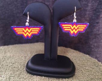 Wonder Woman-beaded earrings