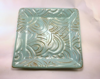 Turquoise Square Plate with Texture, Ready to Ship
