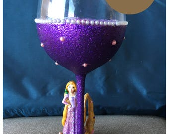 Disney's Rapunzel Glitter Wine Glass