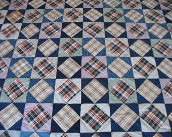 "Vintage quilt top re-purposed into a 90"" by 98"" comforter      Free Shipping"