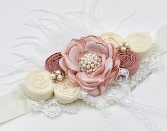 SASH AND HEADBAND included Pregnancy/maternity Vintage Inspired Sash Belt Pink/Ivory Sashes flowers Pearl Rhinestones