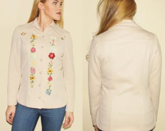 Vintage 70s Floral Embroidered Cream 1970s Boho Hippie Bohemian Hippy Hipster Button Up Lightweight Jacket Top Small