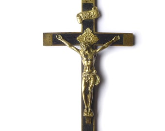 Crucifix cross Jesus Christ bronze and ebony french antique - religious wall Decor Christian late 1800s - Catholic gift