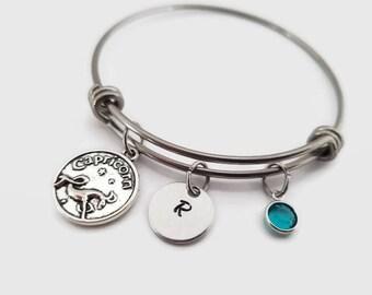 Zodiac Bangle - Capricorn Bracelet - Capricorn Bangle Bracelet - Personalized Gift - Astrology Jewelry - Birthstone - Gift for Her birthday