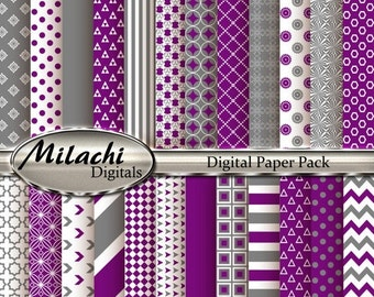 60% OFF SALE Purple Gray Digital Paper Pack, Scrapbook Papers, Commercial Use - Instant Download - M118