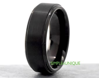 8mm Mens Black Ring,Mens Wedding Band,Wedding Band,Tungsten Wedding Band,Mens Promise Ring,Men's Ring,Mens Wedding Ring,Mens Engagement Ring