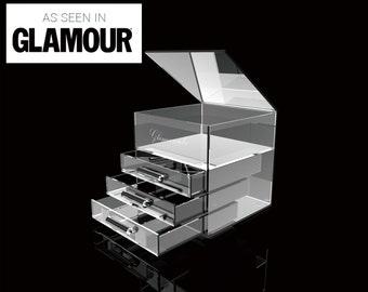 GLAMOURCUBE® MINI (rounded handles) Large designer acrylic home cosmetics makeup storage organiser unit drawers 9″x9″x9″ KARDASHIAN inspired