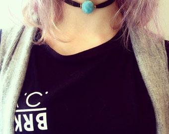 Black cord choker with turqouise bead