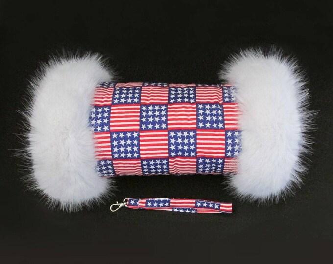 US Stars & Stripes Luxury Faux Fur Trimmed Hand Muff