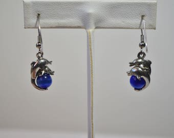 Vintage Silver Dophin Blue Cat Eys Dangle Hook Earrings