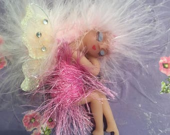 OOAK Fairy Faerie Handmade Polymer clay Sleeping Pink Art Doll
