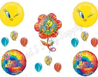TWEETY BIRD TIE Dye Happy Birthday Party Balloons Decoration Supplies Looney Tunes