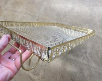 1960s Gold Metal Mesh Tray 15.5 x 11.5