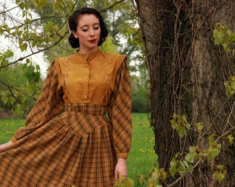 Eccentric 40s style mustard-colored dress - Made in ITALY