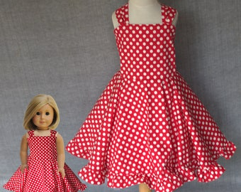 Dollie and me, Red and white, Polka dot dresses, Matching girls dress, matching doll dress, american girl doll , matching twirl dress