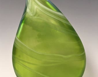 Lime Green Hand Blown Glass Bottle