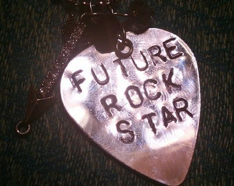 Future Rock Star hand stamped necklace