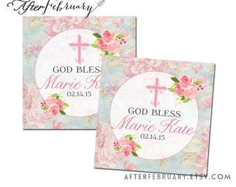 "Personalized Floral Baptism 2"" Square Favor Tag, Custom Wording, Baptism for Girl Printable Decorations Tags Labels Printable No.301BAPTISM"