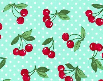 Cherry Dot by Michael Miller fabrics, mint,aqua dot with cherries, cherry fabric, sewing quilting apparel fabric by the yard, novelty fabric