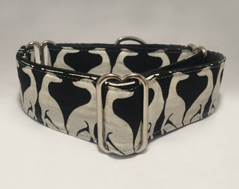 1.5 inch Martingale Collar, With Black White Special Greyhound Galgo Pattern Fabric, Greyhound Galgo Martingale Collar