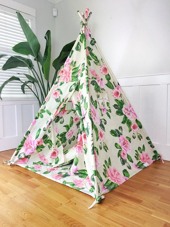 Kids Play Tent Teepee Handmade in Tropical Floral Designer Cotton Fabric. Comes With Padded Mat Base AND Two Pillows.