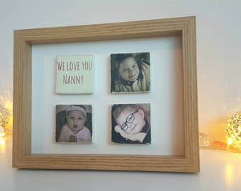 Photo gift, tile photos, photo collage gifts, unuausl photo gift, custom photo frame, personalised gift from photos, photo memories gift