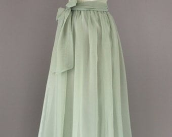 Sage green chiffon skirt, any length and color Bridesmaid skirt, floor length, tea length, knee length empire waist green chiffon skirt