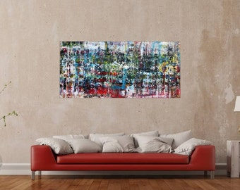 Original abstract artwork on canvas ready to hang 75x160cm #649