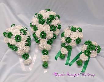 Artificial Wedding Flowers Brides, Bridesmaid, Flower Girl Teardrop Bouquet in Emerald Green Foam Roses with diamante