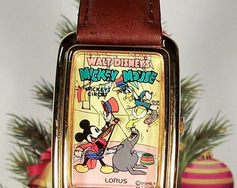 """Disney Lorus """"Circus Circus"""" Mickey Mouse Watch! New Retired and out of Production"""